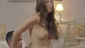 Brunette eaten out as she gets her man all fired u