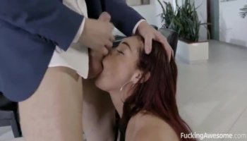 Cute brunette Teen tight fuck and swallow jizz