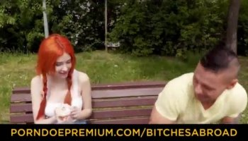 Teen lesbian whores sharing a huge glass double side dildo