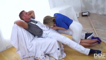 Anissa goes down on her masseur