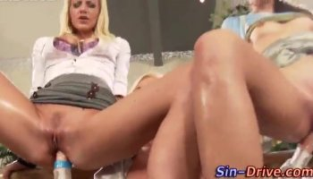 Mom and daughter share cock in asses